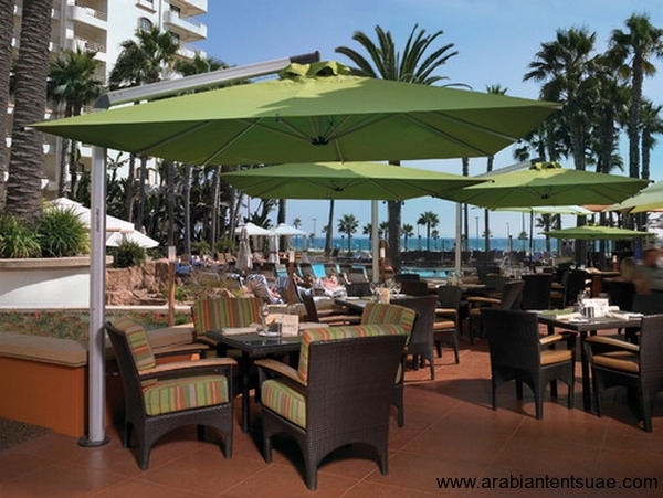 Nice-Tropical-Look-of-Restaurants-Patio-Umbrella-Decorating- & Umbrella | Arabian Tents